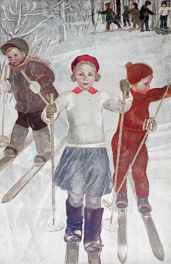 Children skiing. Poster. 1934