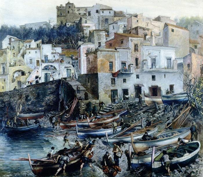 Disembarkation of fishermen in Sorrento. 1932