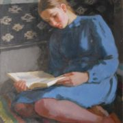 During reading (the daughter of the artist, V. V. Zernova, later - scientist-oceanologist). 1946