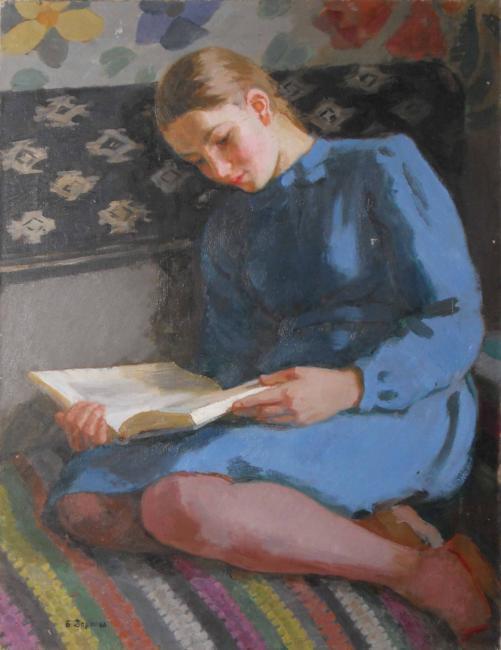 During reading (the daughter of the artist, V. V. Zernova, later - scientist-oceanologist). 1946