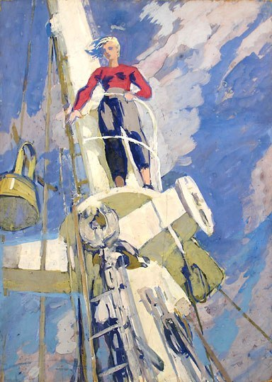 On the mast of the research vessel (1956)