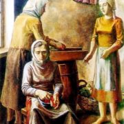 Shredding of cabbage. 1978. In this painting, the artist shows three generations of women grandmother, mother and daughter