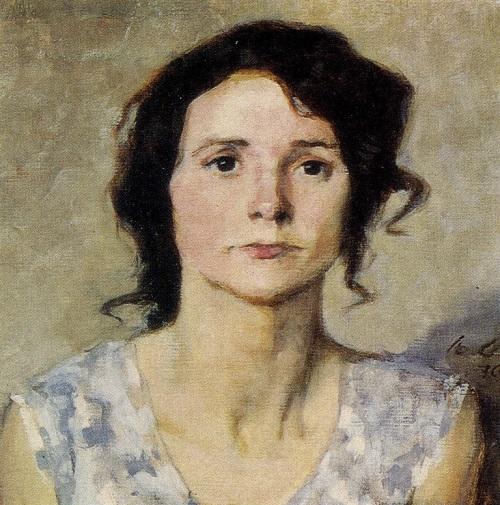 Woman's portrait 1970. Oil