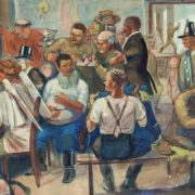 Amateur Theater. Painting by Viktor Govorkov
