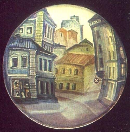 Fine dishes from the series 'My City'. 1981. Faience, painted underglaze. LS Orlova (Moscow)