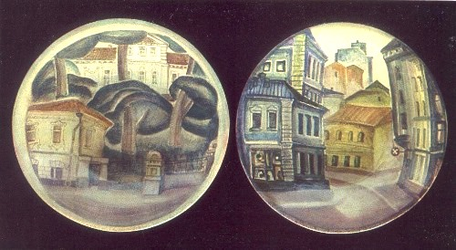 From the series 'My City'. 1981. Faience, painted underglaze. Artist LS Orlova (Moscow). Fine dishes