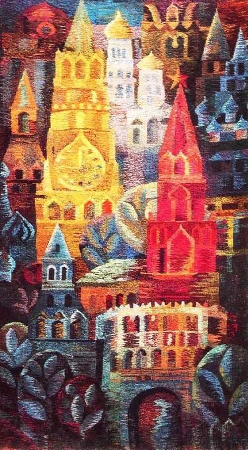 Soviet Decorative art. G. Orlova. Tapestry. Festive Moscow. Wool, handwoven. 1977