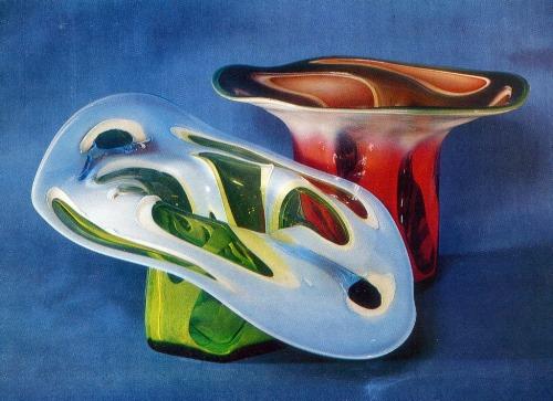 LA Kuchinskaya (born 1944 Vishny Volochek). Decorative vases 'Sea'. 1975. Sulfide Glass, free-blown equipment