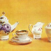 NM Ropova (born 1946 Dulevo). The service 'Russian tea'. 1976. Porcelain, overglaze