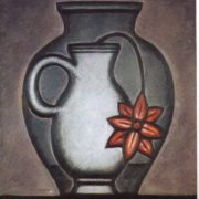 Vase with a flower in a vessel with water. 1962 Hardboard, oil