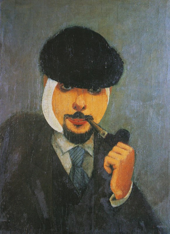 Commissioner of the Samara VKhUTEMAS. Self-portrait. 1922. Plywood, oil. Samara Regional Art Museum