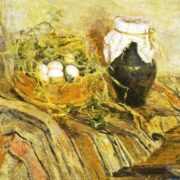 Eggs in the nest and jug, still life