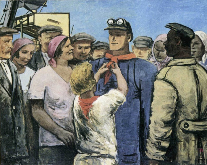 Heroes visiting us. Greeting shock worker. 1931