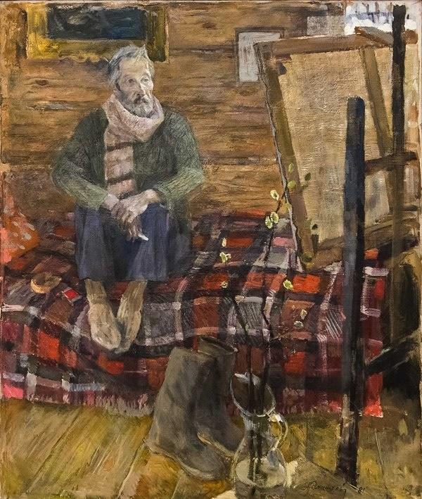 Portrait of artist Vladimir Tokarev. 1981. Oil on canvas. Tver art gallery