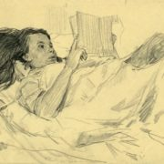 Reading girl, pencil drawing