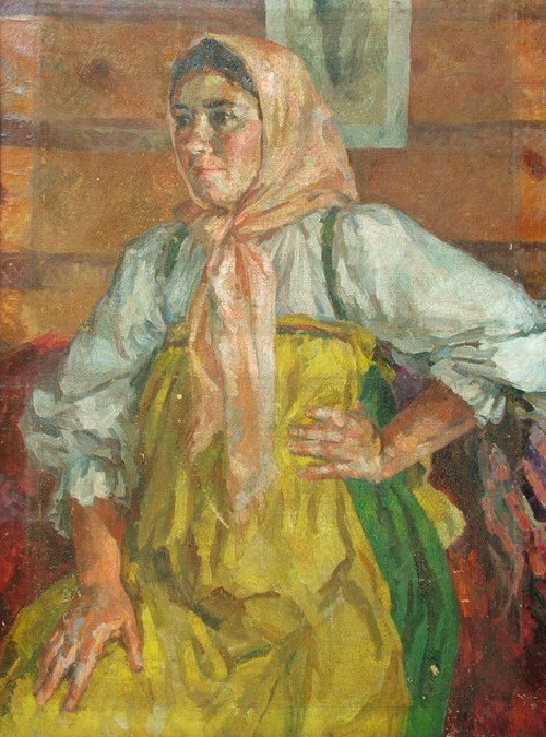 Z.I. Shigal (wife of artist's brother) in a folk dress. Oil on canvas