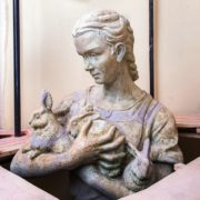 A woman with rabbits
