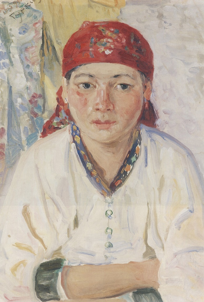 Altai woman in a red scarf. 1932