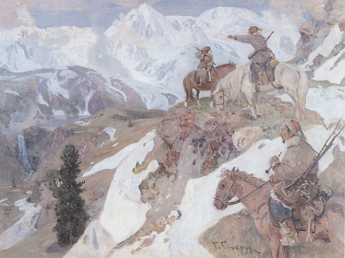 Altay hunters in the mountains. Oil on canvas