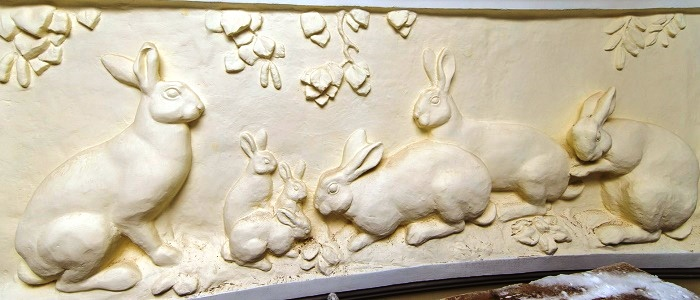 Bas-relief on the central facade of the building of the pavilion Rabbit breeding at VDNKh, Moscow