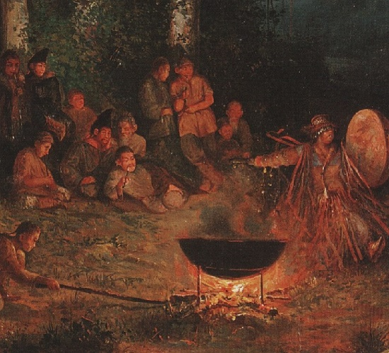 Detail of first painting 'Night of the victim Kamlanie'. 1895. Oil on canvas