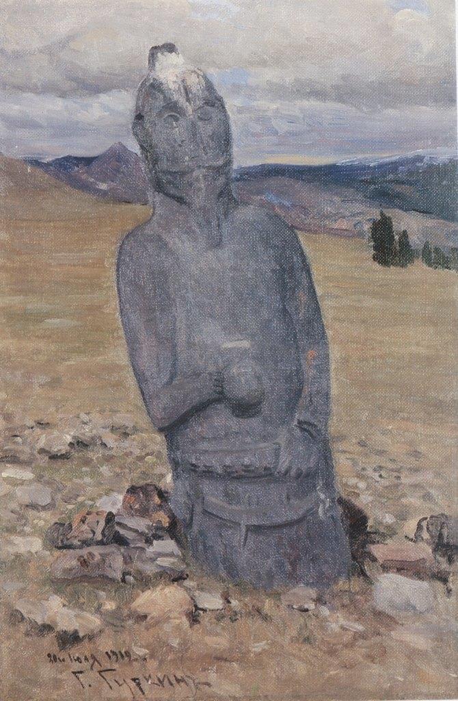 Kezer Tash. 1912. Oil, canvas. (Stone women, ancient sculpture)