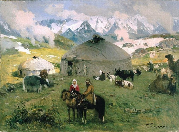 Nomads in the mountains. 1920. Oil on canvas