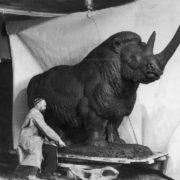 Sculptor Vatagin working on a giant sculpture