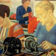 Shock workers at the Krasnaya Zarya factory, 1931. Plywood paper, oil