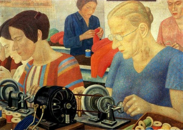 Shock workers at the Krasnaya Zarya factory, 1931. Plywood paper, oil