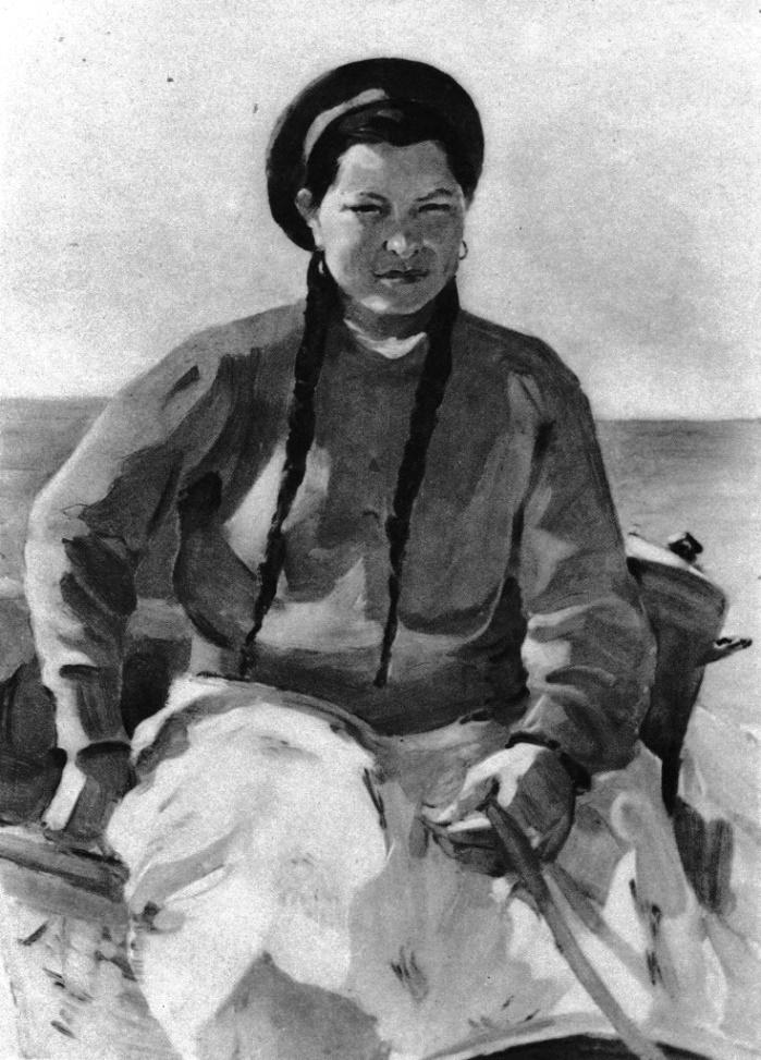 L.S. Rabinovich. Milkmaid, a member of Komsomol Yaitsa Akhmetova. Russko-Polyansky State Farm. The Omsk Region. Etude