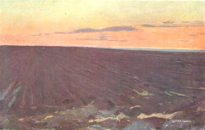Artist L.S. Rabinovich. Plowed virgin soil. The Omsk Region. Etude