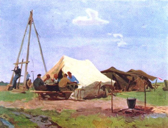 Surveyors are having dinner. Altai region. Etude by N.N. Chebakov