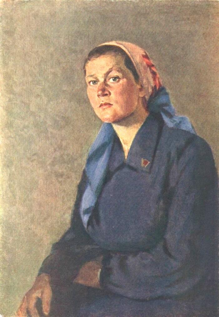 Portrait of Valentina Fedyanina, brigadier of the Komsomol women's tractor brigade. Altai