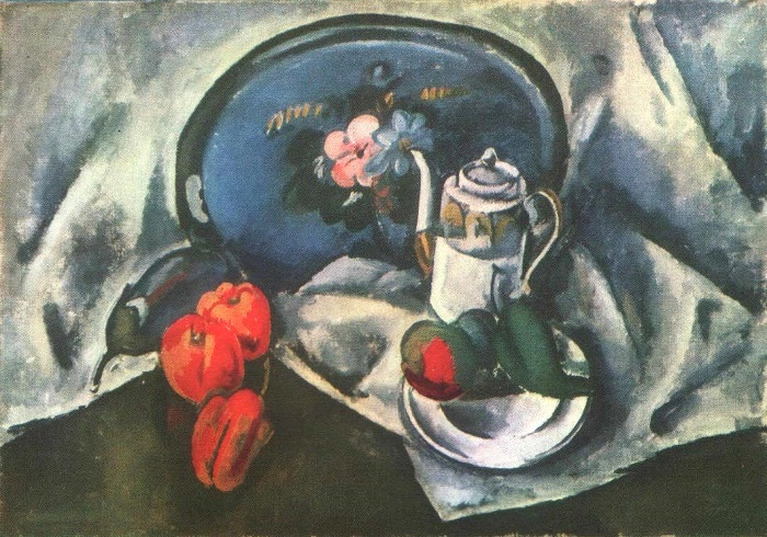 Still life with blue tray. 1914