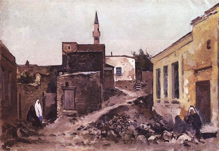 Street with three figures. Bakhchisaray. 1927
