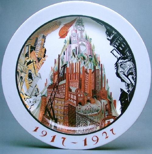 'Way to Socialism', plate. 1927. Painted by artist ZV Kobyletskaya