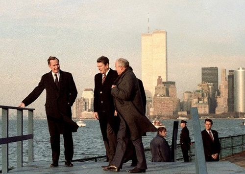 George Bush, Ronald Reagan, Mikhail Gorbachev. 1990s. Soviet photographer Yuri Abramochkin