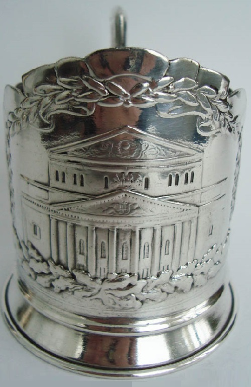 Glass Holder 'Bolshoi Theatre'. Rare collectible glass holder. Metal nickel silver, blackening. Made in 1976, dedicated to 200 anniversary of the theater