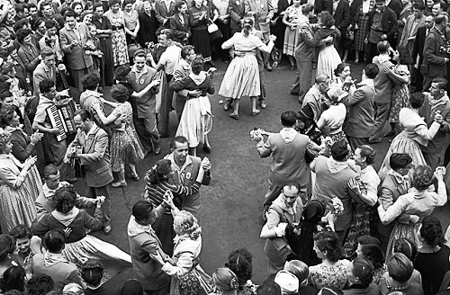Guests VI World Festival of Youth and Students dancing at Turgenev Square in Moscow, 1957