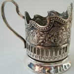 'Cosmos of USSR'. Silver cup holder, side view