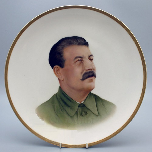 I.V. Stalin. Porcelain plate. Dulevo. 1940s
