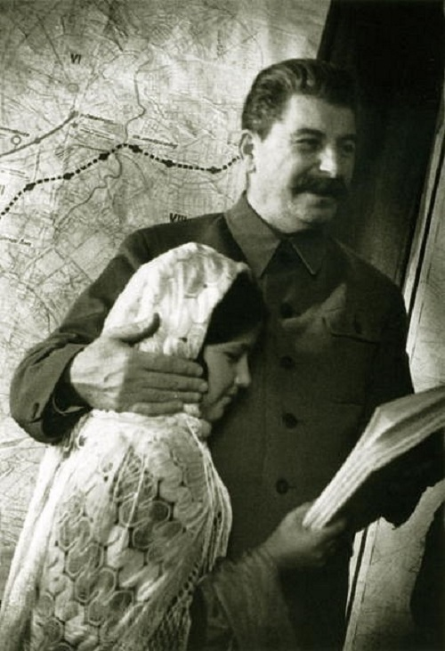 Boris Ignatovich Soviet Union Photographs. Joseph Stalin with a girl, famous photo of Stalin with a girl