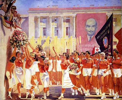 Kirov greets the parade of athletes. 1935. AN Samohvalov. Canvas, oil. 306 × 373 cm. The State Russian Museum, St. Petersburg