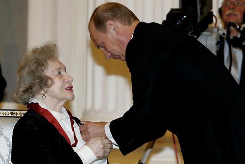 Vladimir Putin and Lepeshinskaya at the ceremony of presenting state awards in the Kremlin, 6 October 2006