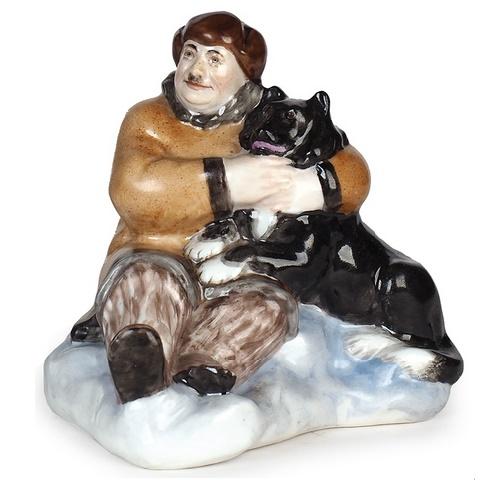 Sculpture 'Papanin with husky on the ice', Leningrad Porcelain Factory, sculptor - Natalia Danko (1892-1942). 1930. Porcelain, overglaze painting