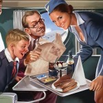 Soviet pin-up. Artist Valery Barykin. Soviet stewardess (Legendary Soviet Podstakannik on a tray)