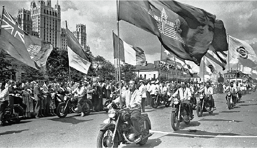 The appearance of car procession proclaimed escort group of motor bikers and fanfares with pennants