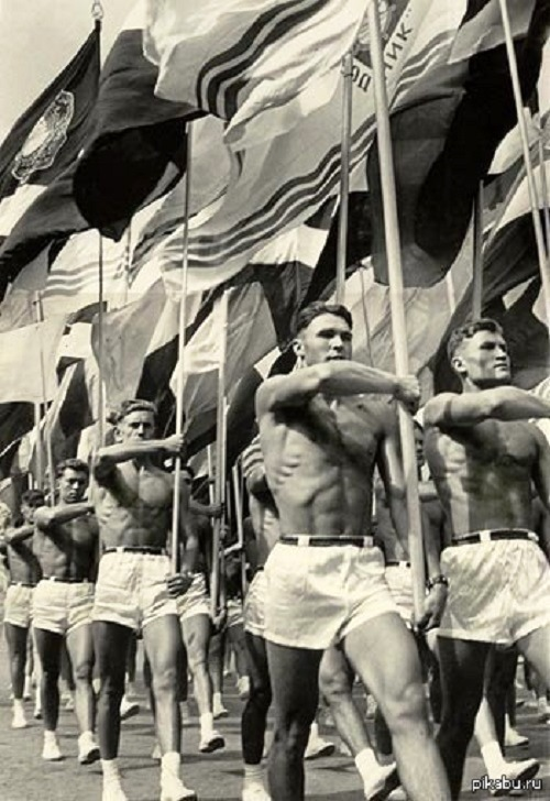The parade of athletes Moscow. The USSR. 1956
