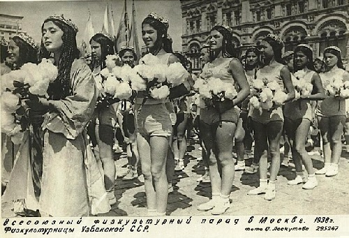 The parade of athletes in Moscow. Uzbek Republic of the USSR. 1938